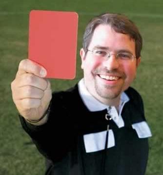 Matt Cutts holding a red card